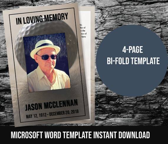 Golfer/'s Memorial Service Template Printable Funeral Program Template 21003 ObituaryOrder of Service Template Editable In Templett