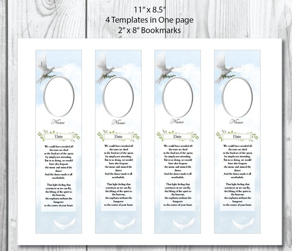 funeral bookmark template clouds dove memorial etsy
