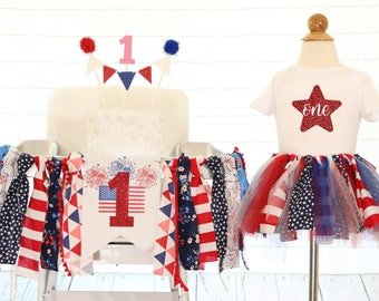 FLASH SALE Fourth Of July High Chair Banner 4th Tutu Birthday Outfit Highchair Set First Decoration