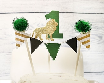 Jungle Safari Cake Topper Wild One Birthday Decoration Party DecorBanner First Baby Boy Lion