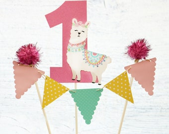Llama Cake Topper Fiesta Birthday Decoration Party Decor Banner First Decorations