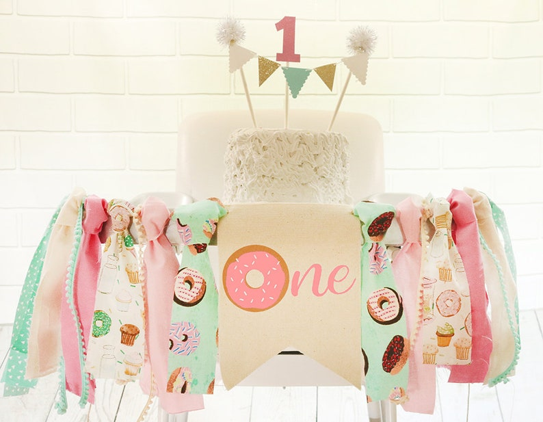 Donut Grow Up Birthday High Chair Banner Donut Highchair image 0