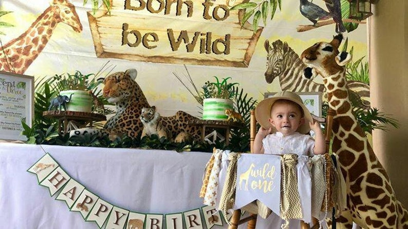 7c48df965 Wild One Jungle Safari LUXE EDITION High Chair Banner White & | Etsy