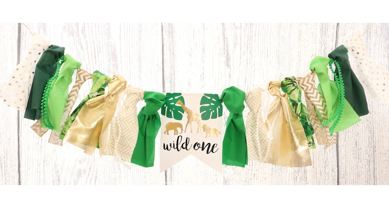 4c1334f7c Wild One Jungle Safari High Chair Banner Green & Gold Birthday | Etsy