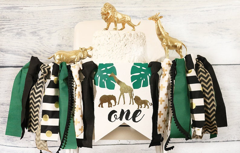 d648d2efa Jungle Safari High Chair Banner Black and Gold Birthday | Etsy