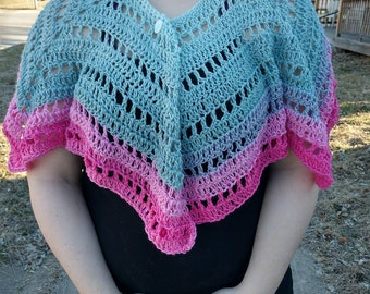 Pink and Grey Women's Shawl.