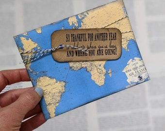 Travel Birthday Card, for Traveler, Wanderlust, Gift For Him, For Her, World Map, Vintage, Bookology