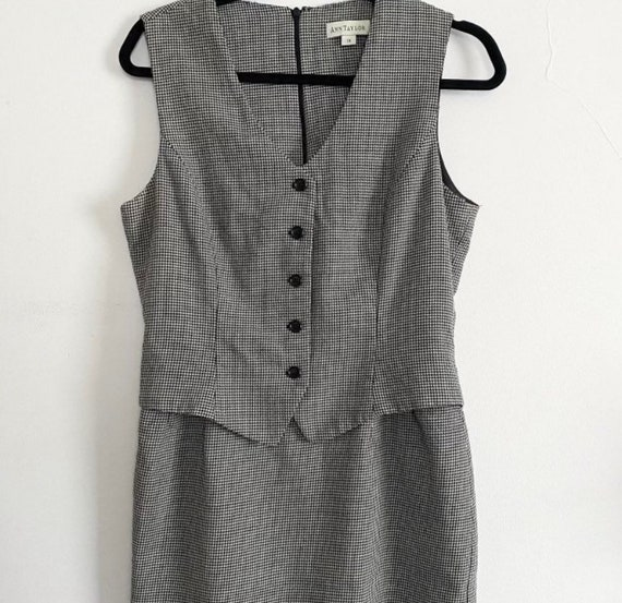 Ann Taylor vintage houndstooth one piece skirt sui