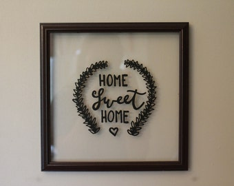Home Sweet Home | 10 x 10 inches, Glass Picture Frame with Quote, Calligraphy Wall Decor, Home and Living, Backless Brown Frame