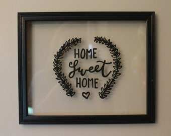 Home Sweet Home | 11.25 x 9.25 inches, Glass Picture Frame with Quote, Calligraphy Wall Decor, Home and Living, Backless Wood Frame