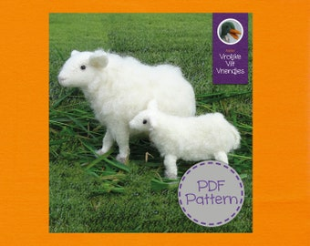 Mother sheep with lamb-PDF pattern & Turorail in Englisch