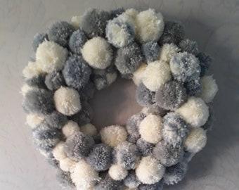 Large handmade pom pom wreath
