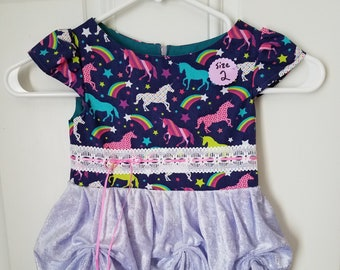 2T Rainbow Unicorn Dress