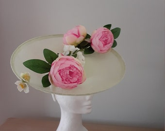Mint green sinamay saucer with pink peonies