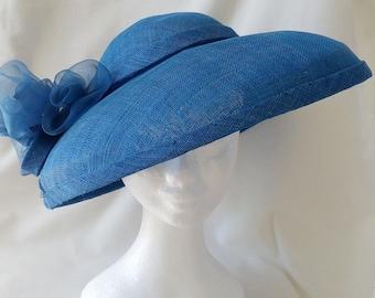 Blue sinamay brimmed hat