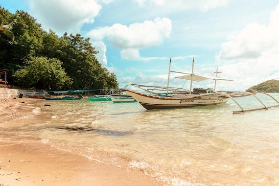 Beach Photography Palawan Philippine Beach Pale Blue Green Tropical Photography Print Travel Wall Art