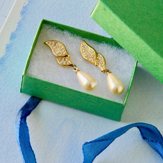 1980s Napier Pavé Rhinestone Earrings, Faux Pearl