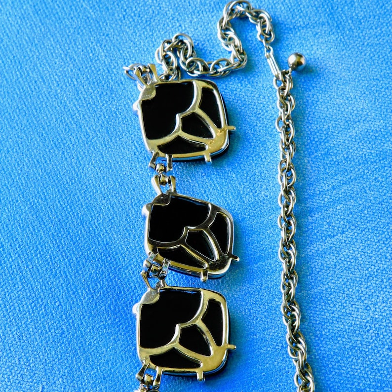 Statement Necklace Deco Black Glass Choker