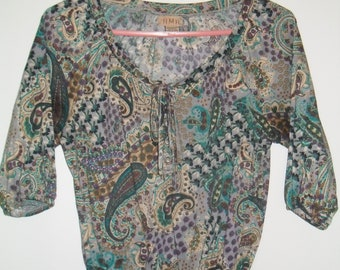 paisley patterned crop top