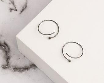 Minimalist earrings, hoop earrings, oxidized earrings, silver hoop earrings, round earrings, circle earrings, silver earrings, gift for her