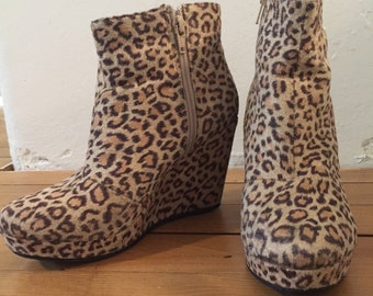 Leopard wedge ankle booties