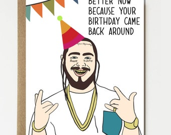 Funny Post Malone Inspired Birthday Card