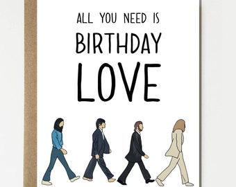 The Beatles Inspired Happy Birthday Card - Beatles Card - Birthday Card - Cute Card - Funny Card - Birthday Gift