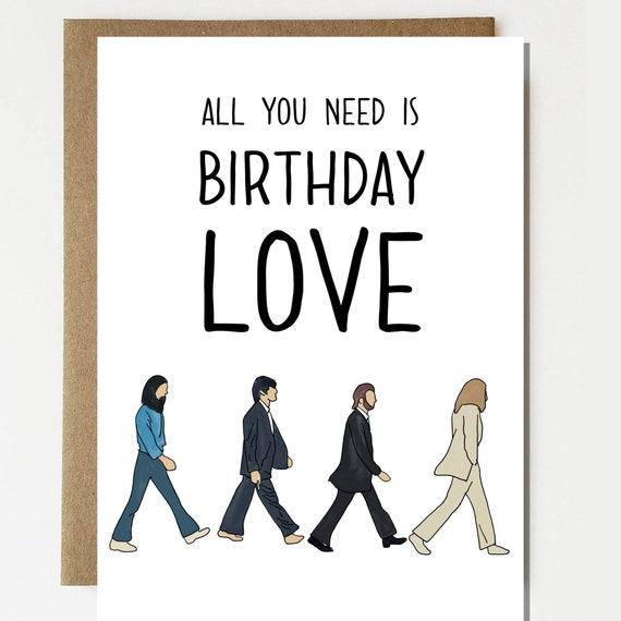 The Beatles Inspired Happy Birthday Card Beatles Card Etsy