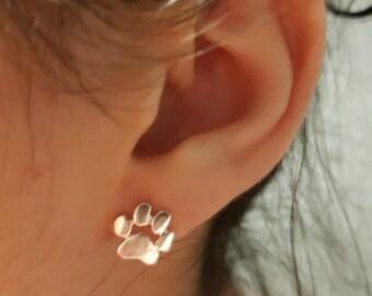 ecabbd86c Sterling Silver Dog Paw Stud Earrings Cat Paw Earrings Dog Paw Earrings  Gift for Dog Lover Paw Print Earrings