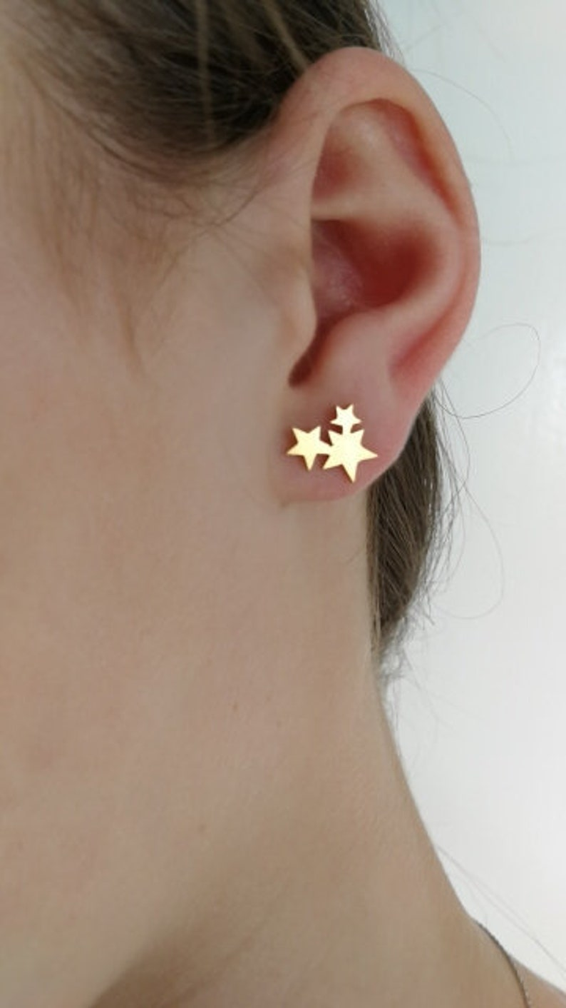 794cde65090b4 Gold star earrings - star stud earrings gold plated women stud earrings 3  stars earrings star studs gold plated