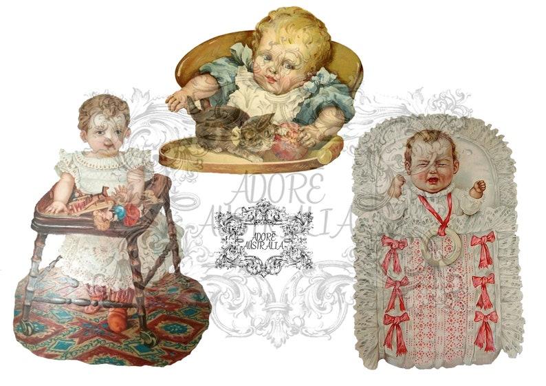 collage little girls Vintage German Paper Cuts Victorian Ephemera junk journal