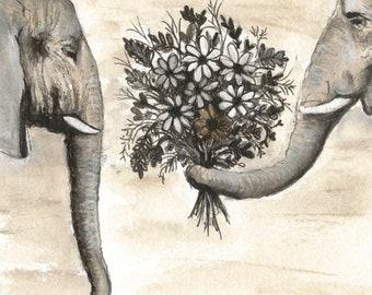 Elephants with Flowers