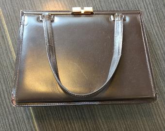 1950s vintage brown leather handbag