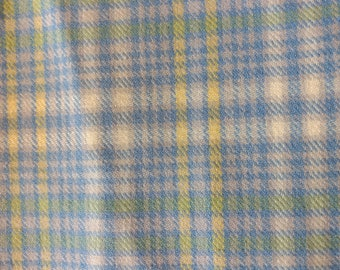 Vintage blue, yellow, green plaid wool remnant