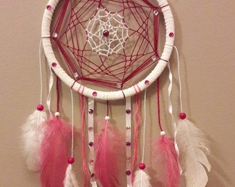 DreamCatcher / dream catcher / Dreamcatcher handmade pink and white ribbons and rhinestones