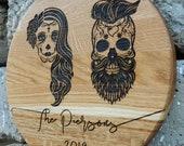 Custom Wedding Gift Sugar Skull Cutting Board Personalized, Gothic Wedding, Custom Cutting Board, Engraved bridal shower, día de los muertos