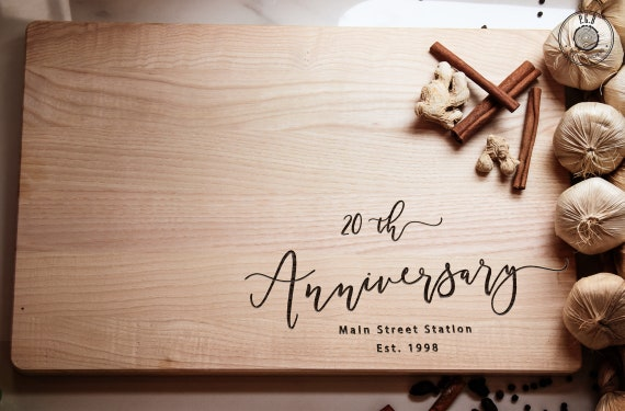 engraved wooden cutting board customized 20th anniversary etsy