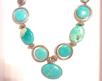 Statement Turquoise dyed Howlite Necklace
