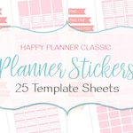 Happy Planner Classic template bundle, 25 sticker template sheets, design your own planner stickers, digital CU (B08)