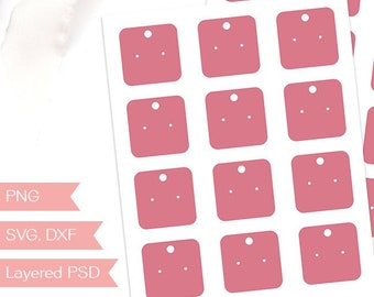 """Earring display template, 2"""" jewelry hang tag packaging, design your own with a silhouette or cricut cut file, PSD, PNG, SVG (JT14A)"""
