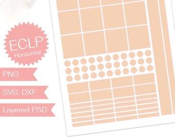Planner sticker template, for Erin Condren horizontal planner journal, ECLP planner collage sheet, digital designer commercial use (PPT59)