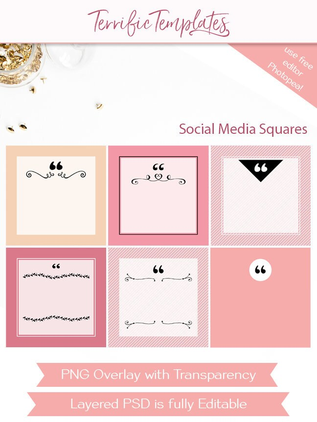 Social Media Overlay Quote Card Templates Social Squares Etsy