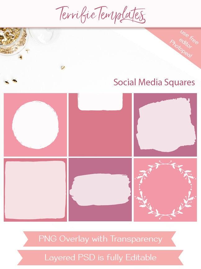 Social Media Overlay Square Templates Social Squares Etsy