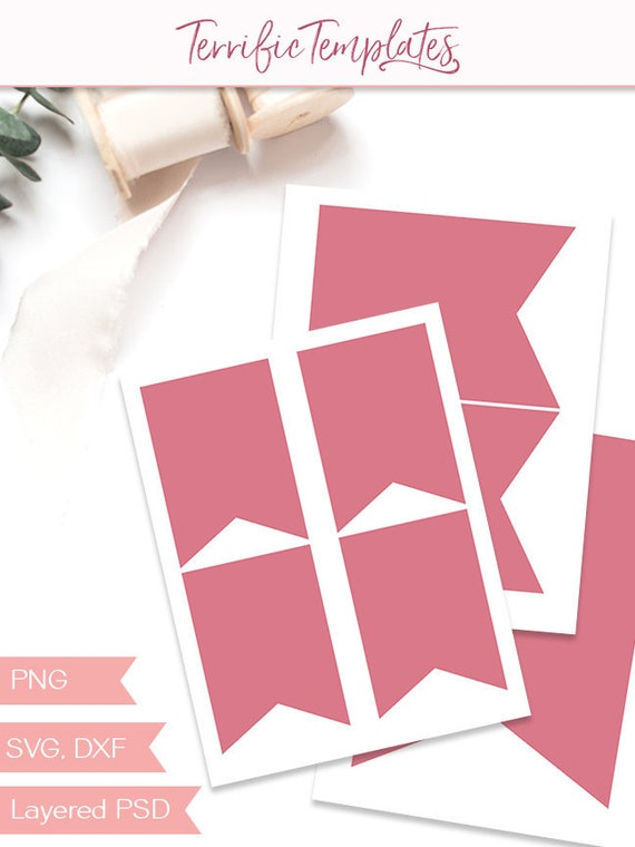 pennant banner template party printable craft template diy etsy