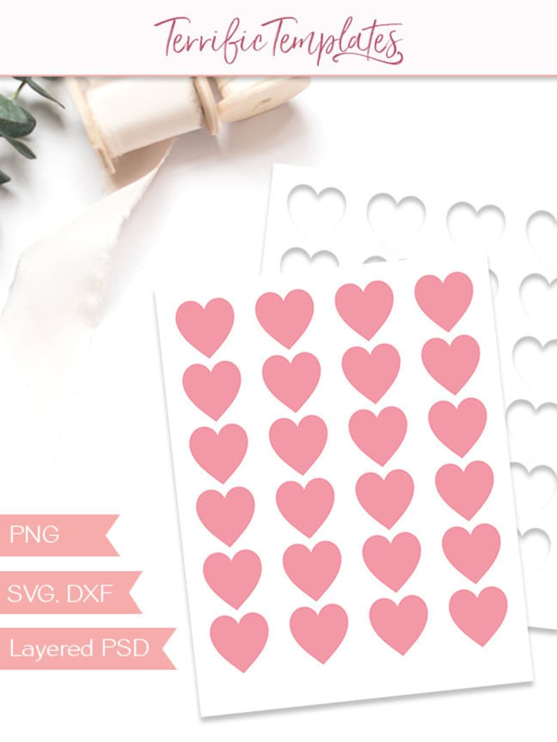 Heart Sticker Template Party Printable Craft Template Etsy