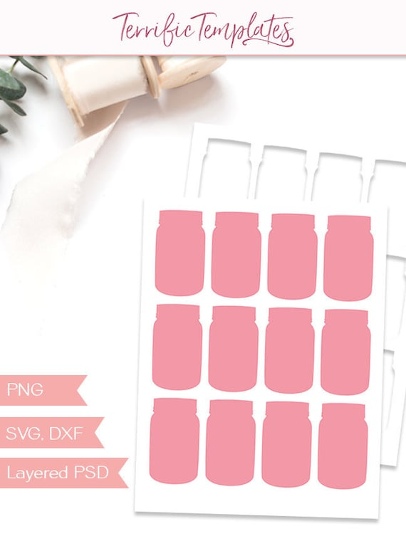 Mason Jar Tag Template Party Printable Craft Template Etsy