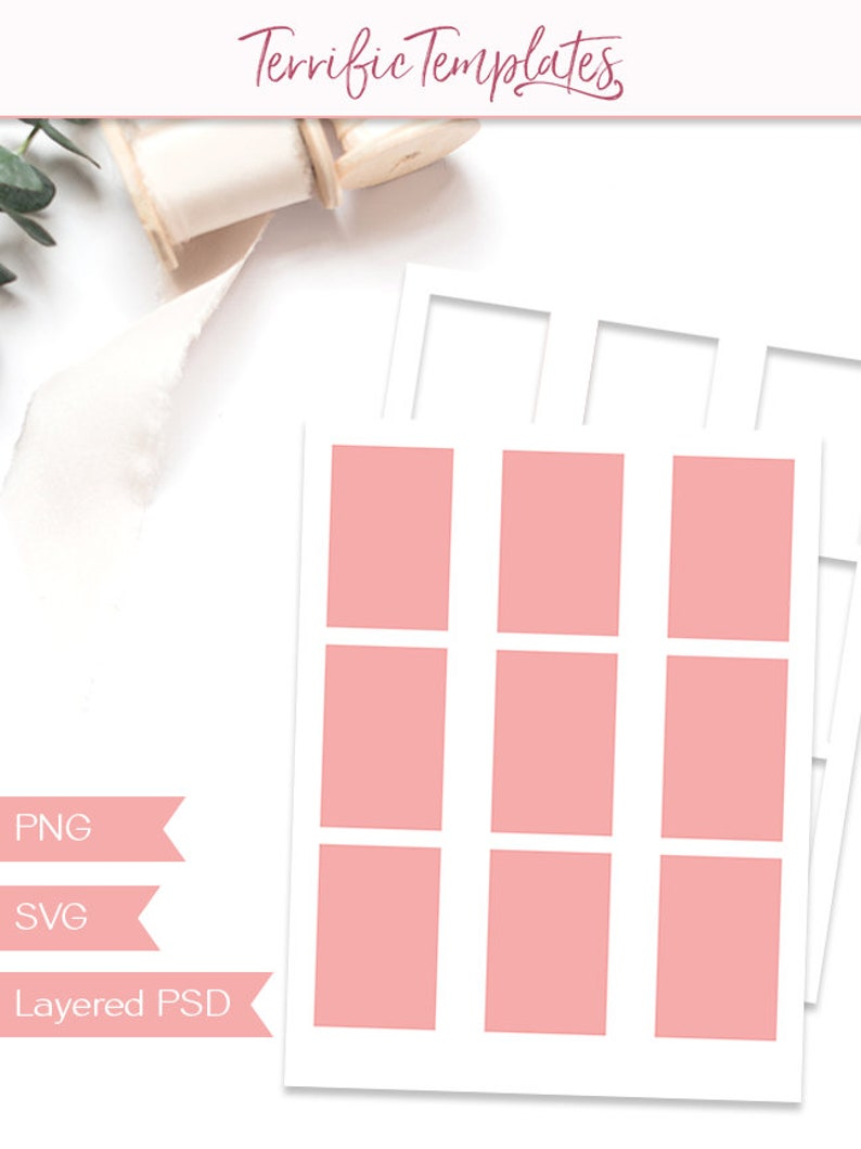 Collage sheet template business cards craft template printable 3.5x2 inch commercial use TT29 PSD PNG SVG coupon cards shop cards