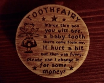 Laser Engraved Layered Plywood Tooth Fairy Box Handmade