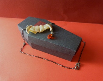Ruby Drop Shimmering Vampire Fang Choker Necklace in Coffin Gift Box