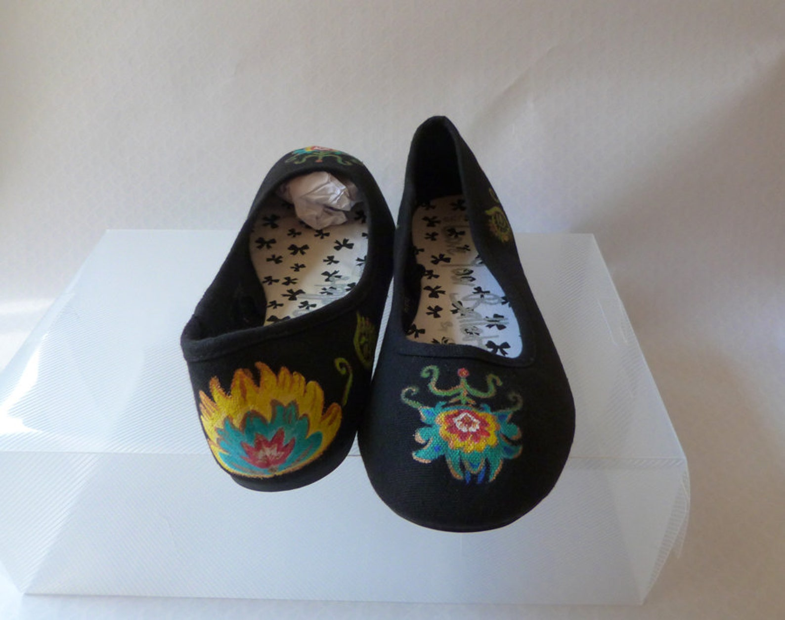 folk art flower decorated black canvas flat ballet pumps uk 6 eu 39.5 us 8.5